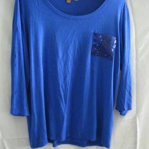 Blue top by  EllenTracy - Sequin pocket   L
